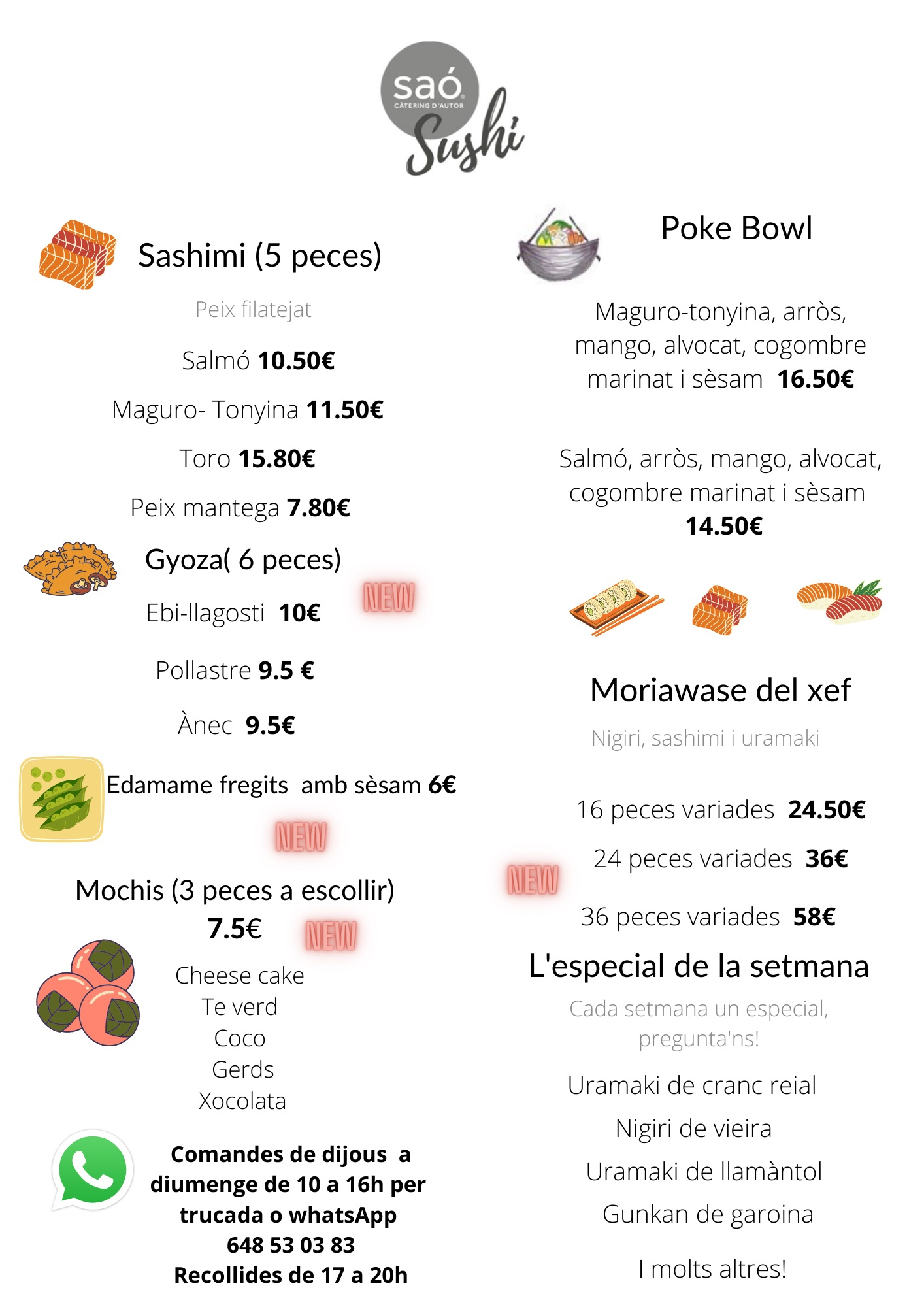 Carta Sushi take away, sushi per emportar